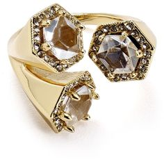Rebecca Minkoff Three Stone Wrap Ring ($72) ❤ liked on Polyvore featuring jewelry, rings, gold, yellow gold cocktail rings, statement rings, gold jewelry, gold pave ring and pave ring
