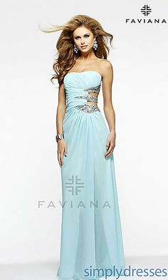 Long Strapless Dress with Side Cut Outs at SimplyDresses.com