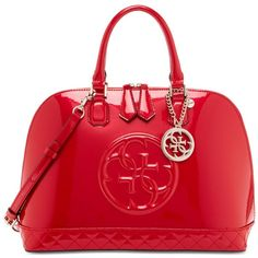 Guess Korry Dome Satchel ($128) ❤ liked on Polyvore featuring bags, handbags, passion, dome satchel handbag, red purse, red handbags, dome satchel purse and guess handbags