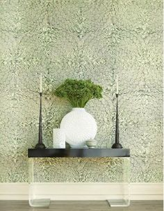 Schumacher Feather bloom wall covering in sisal