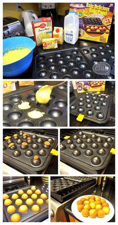 Cake pop pan review and DIY.  Good tips re:  modifying box cake recipe to make the cake more dense.