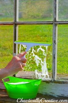 Items Needed for Washing Windows    Dawn Dish Detergent  Small Bowl or Bucket  Scrubby Pads  Absorbent Cloths  Squeegee  Dirty Windows