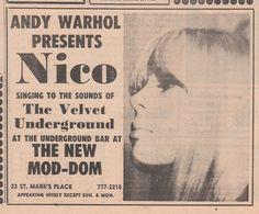 Andy Warhol presents Nico with The Velvet Underground - 1966 concert advertisement.