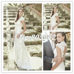 Find More Wedding Dresses Information about Sexy Mermaid V Neck Appliques 2014 White Wedding Dresses Sleeveless Lace Cap Sleeve Bridal Gown Open Back With Train SD25,High Quality Wedding Dresses from Suzhou Romantic Wedding Dress Co. Ltd on Aliexpress.com