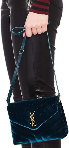 647e0df8ae Shop for Saint Laurent Toy Velvet   Leather Monogramme Loulou Strap Bag in  Dark Deep Sea at FWRD.