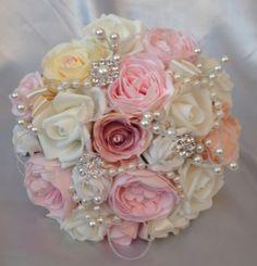 Vintage-mariee-broche-perles-ivoire-rose-fleurs-mariage-peach-BOUQUET-ROSES-Posie