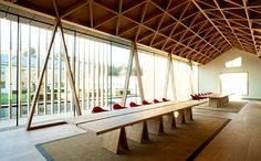 Beautiful timber ceiling at Windmill Hill Farm Timber Roof, Timber Ceiling, Roof Trusses, Ceiling Fan, Windmill Hill, Fibreglass Roof, Timber Structure, Modern Roofing, Pergola Designs