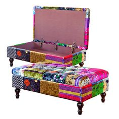 ALHAMBRA PATCHWORK STORAGE OTTOMAN The designer patchwork print fabric that covers this Storage Ottoman, has a silky smooth velvet feel. The busy pattern and vibrant colours make this one of the most eye-catching sofas on the market. Made using real hardwood frame, comfy padded seat with deep button-back upholstery.