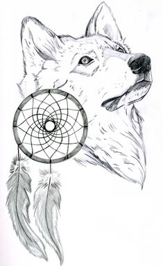 drawings of dream catchers | Wolf and Dream Catcher by Ferrell32