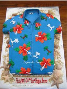 hawaiian luau party For a man's surprise birthday party; design was based on the man's favorite Hawaiian shirt; his wife was even getting him to wear the shirt to his party (he Hawaiian Birthday Cakes, Hawaiian Luau Party, 50th Birthday Party, Hawaiian Cakes, Hawaiian Bbq, Birthday Cakes For Men, Luau Cakes, Party Cakes, Hawaian Party