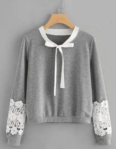 Crochet sweatshirt with bow at neck - German SheIn (Sheinside) - super klamoten - Fashion South African Shop, Crochet Bow Ties, Fashion Scout, Plus Size Tips, Coats For Women, Clothes For Women, Scarf Styles, Fashion Sketches, Casual Chic