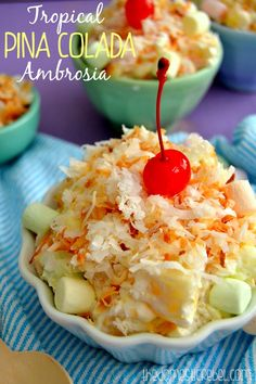 This Tropical Pina Colada Ambrosia is a light, luscious and fruit-packed dessert dish that's perfect for Easter! Loaded with marshmallows, coconut, tropical fruit and a tangy pina colada whipped cream, it'll transport you right to the beach! Easter Recipes, Fruit Recipes, Dessert Recipes, Cooking Recipes, Easter Ideas, Dessert Salads, Dessert Dishes, Fruit Salads, Jello Salads