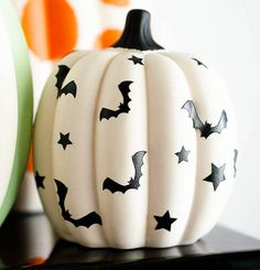 Bat decals on pumpkin - easy and adorable Halloween decor! Every year, I plan a Halloween Party for my little monster. The kids play games, paint their own ceramic pumpkin banks and of course eat treats! Halloween Home Decor, Halloween House, Holidays Halloween, Spooky Halloween, Halloween Treats, Halloween Decorations, Halloween Party, Halloween 2020, Beetlejuice Halloween