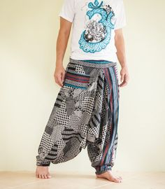 Hmong Embroidery Baggy Harem Pants Unisex Low by AmazingThaiStore