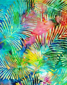 Bali Batik Fabric Palm Fronds by PearTreeRoad Textile Design, Textile Art, Batik Art, Batik Pattern, Tropical Art, Silk Art, Poster S, Shibori, Fabric Painting