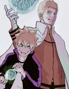 Naruto and boruto, father and son