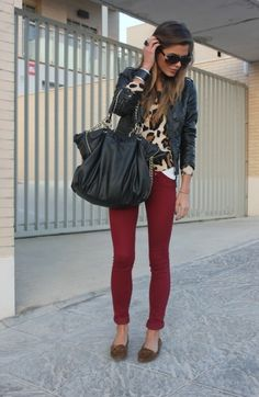 Fall fashion- oxblood or red pants, leopard sweater, black accessories