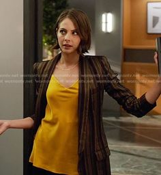Thea's yellow top and striped blazer on Arrow.  Outfit Details: https://wornontv.net/61912/ #Arrow