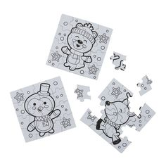 Color Your Own Mini Winter Puzzles