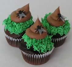 Everybody tells us they've never had a crappy cupcake from Cakes Etc. Well now you can! The Mon Petit Crotte is a Dark Chocolate cupcake filled with Hot Fudge and topped with our homemade Chocolate buttercream in the shape of a turd, with a fly, on some grass. Have some fun and save this one for the person who's made your day! #cupcakedesign #cupcakes #monpetitcrotte #turd #crappy #fun