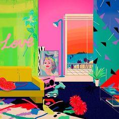 Yoko Honda's paintings evoke the in all its plastic neon-pastel cocaine glory Patrick Nagel, Collages, Collage Art, Art Vaporwave, Honda, 80s Design, Memphis Design, Ouvrages D'art, Airbrush Art