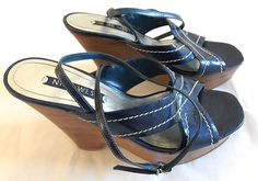 Nine West Womens Shoes Size 6.5 Jerzy Platform Sandal Blue Wedge Heels Open Toes #NineWest #Strappyshoes #Casual