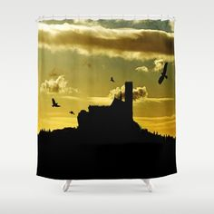 Castle in a golden sky Shower Curtain Silhouette of a castle on top of a mountain right after sunset. Photomontage of some of my own photos  Landscape, yellow, golden,black,birds, building, silhouette, mountain, sky, clouds, cloudy, neo-mystical, sundown