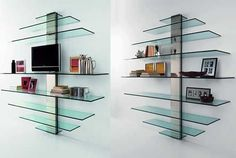 Tonelli is an Italian furniture company that is specialized in glass. An interesting product from them are these glass shelves, thant are caracterized by clean lines and a modern transparent design. The glass shelves have different sizes allowing you to make all kind of combinations, from storing books, dvds, souvenirs, etc. The glass shelves are designed by Giovanni Tommaso Garattoni and he named his creation Mondovisione.If you want more products from glass they have almost everything…
