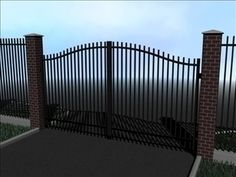 Fence 3D Model-   The iron fence shown here is a medium-level detail fence for exterior architectural renderings.  This fence looks great around large estates, cemeteries, and other places where there are large yards to be enclosed.  The product package includes the iron fencing and the gate and excludes scene elements.  Please rate this product.  Rendered using Blender. - #3D_model #Landscape,#Residential,#Streets