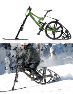 Ktrak: 1/2-ski,1/2-track mountain bike.Ktrak's insane appeal comes from its ability to let cyclists ride over previously inaccessible surfaces like snow & sand. Due 4 a production run in early 2007 (priced at a reasonable 400 dollars 4 the track & 140 4 the ski),Ktrak is very easy to install & ride, & adds only 5-lbs to the avg mountain bike's weight.If you can manage to convince your brain that this thing actually exists,your biggest problem is going 2b getting your hands on 1 b4 every1…