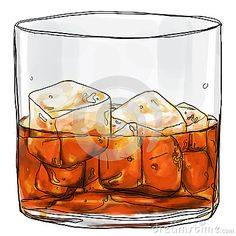 Glass of whisky painting