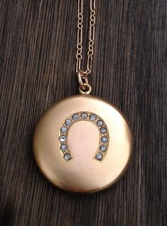 Antique Victorian Horseshoe Locket Necklace