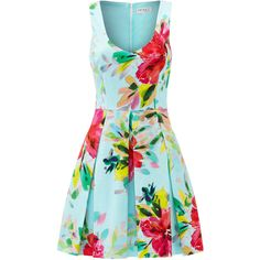 Rental Trina Turk Aniya Floral Dress ($60) ❤ liked on Polyvore featuring dresses, v neck dress, floral print dress, blue dress, blue v neck dress and trina turk dresses