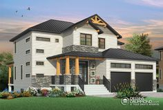 Discover the plan 3718 - Lexington from the Drummond House Plans house collection. Modern Rustic home design with great covered terrace and open floor plan layout. Total living area of 2050 sqft. Modern Rustic Homes, Rustic Home Design, Modern House Design, Rustic Feel, Modern Farmhouse, Modern Craftsman, Craftsman Style House Plans, Contemporary House Plans, Modern House Plans
