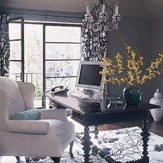 Damask office. Love the chair.