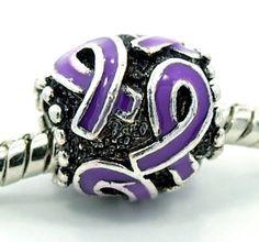 "BESTSELLER! "" Purple Awareness Ribbon "" Antique`d Silver Bead Charm Spacer Pandora Troll Chamilia Biagi Bead Compatible $6.75"