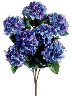 "Hydrangea Silk Flowers Bush in Two Tone Purple and Blue<br>25"" Tall"