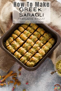 This is an all-time Greek favorite. Saragli is similar to baklava, but it's rolled rather than layered. This Saragli is refined sugar free, buttery, flaky, crunchy, and just sweet enough to satisfy your sweet tooth! Greek Desserts, Greek Recipes, Sugar Free Pastries, Greek Baklava, Glass Baking Pan, Phyllo Dough, Main Dishes, Sweet Tooth, Oven