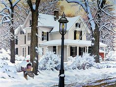 John Sloane.  I love this light pole - especially against the backdrop of a big, white house.