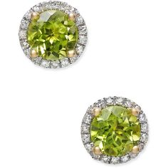 Peridot (1-3/4 ct. t.w.) and Diamond (1/6 ct. t.w.) Halo Stud Earrings... (2,250 SAR) ❤ liked on Polyvore featuring jewelry, earrings, yellow gold, 14k gold earrings, peridot earrings, yellow gold stud earrings, round stud earrings and gold diamond earrings