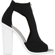 Iggy Azalea for Steve Madden Scubaa Neoprene Zipper Chunky Heel Black... (155 HKD) ❤ liked on Polyvore featuring shoes, sandals, heels, black, dressy sandals, heeled sandals, sexy high heel sandals, steve-madden shoes and high heel shoes