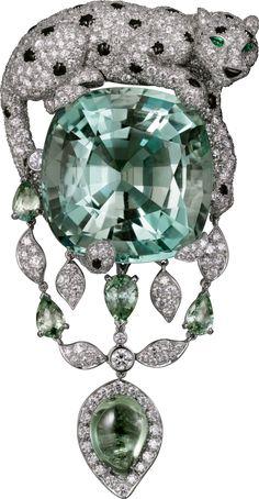 「Etourdissant Cartier(エトゥルディサン カルティエ)」 パンテール ドゥ カルティエ ブローチ  プラチナ、グリーンベリル、グリーンサファイア、エメラルド、オニキス、ダイヤモンド