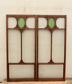 大正アールデコ緑色ガラス戸 在庫4枚 GD501