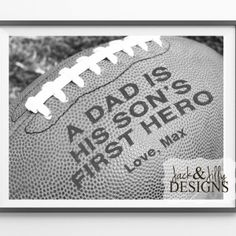 Father's Day Gift Idea - Personalized Football Print - Great gift for the FOOTBALL FAN - by Jack & Jilly Designs