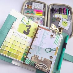 """Day 1 of #websterspagespotd @websterspages I've moved into my Light Teal Color Crush Planner with matching CraftMate Folio! Tip: Use those Memory Keeping inserts to keep track of this monthly challenge! I am also use the """"These are the Days"""" paper/planner collection by Megan Hoeppner! I stamped the dates using @vssweetideas """"Organize it too! Stamp Set"""