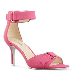 """Minimalist beauty reins supreme. These versatile open toe sandals are the perfect solution to your day-into-evening dressing quandary. Hidden Velcro(R) closure. Padded insole for all-day comfort. Leather or man-made upper. Man-made lining and sole. 3"""" heel. Imported."""