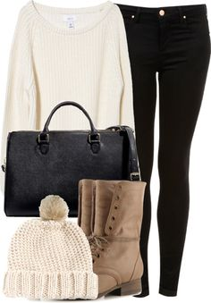 Inspired outfit for shopping in winter Untitled #281 by celinarrr featuring fur pom pom hat Lou Sweater £39.95 / MOTO Black Skinny Leigh Jeans £38.00 / Office City Bag / Beige Faux Fur Pom Boyfriend Beanie £13.00 / Madden Girl Gamer Combat Boot $59.95