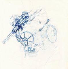 Robot fast sketch, Lapo Roccella on ArtStation at https://www.artstation.com/artwork/L8ZZk