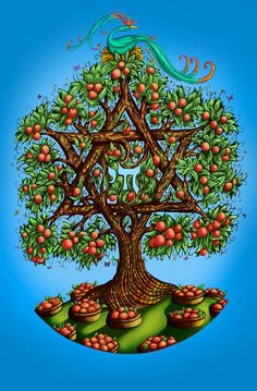 "DAVID ANSON RUSSO LIMITED EDITION PRINTS ""Harvesting the Tree of Life"" is the quintessential visual homage to the Jewish people and their rich heritage, Incorporating two of the most important symbols of Jewish life within a bountiful context of growth symbolized by the fruit bearing tree. found at pretty paula products at etsy"