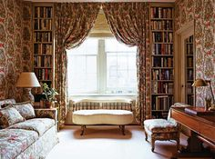 The drawing room in Paris displays a gallery wall of Indian watercolors given to her by the Duke of Beaufort; Radziwill designed the over sized daybed for her NYC sitting room; Her classic, antique filled living; The NYC library adorned in Le Manach toile. Paris Apartment of Lee Radziwell